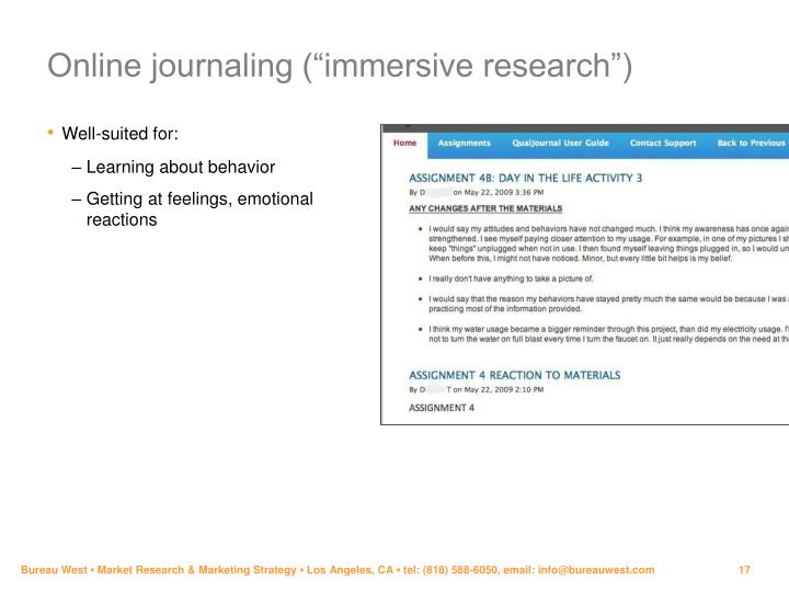 "Online journaling (""immersive research"")"