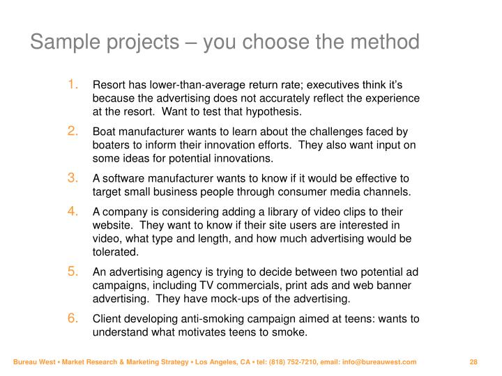 Sample projects – you choose the method