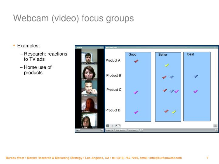 Webcam (video) focus groups