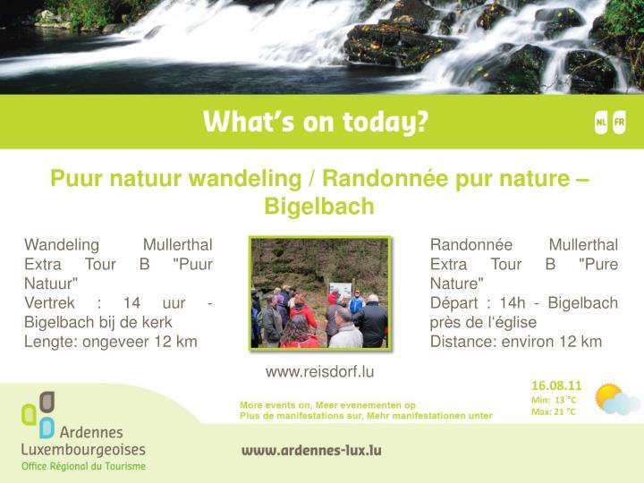Puur natuur wandeling / Randonnée pur nature – Bigelbach
