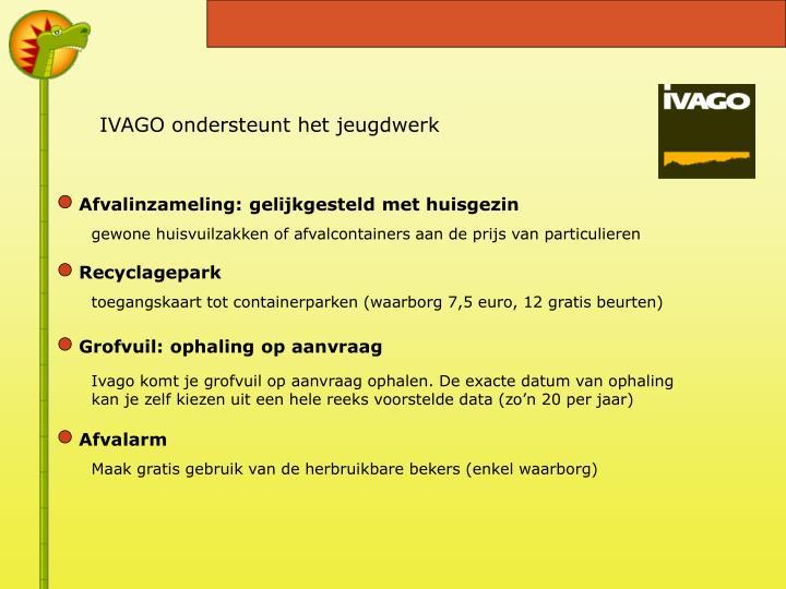 IVAGO ondersteunt het jeugdwerk