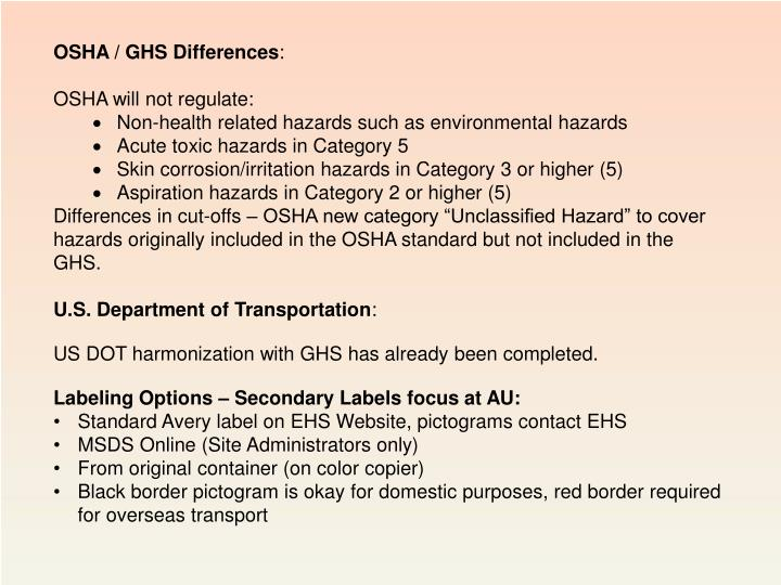 OSHA / GHS Differences