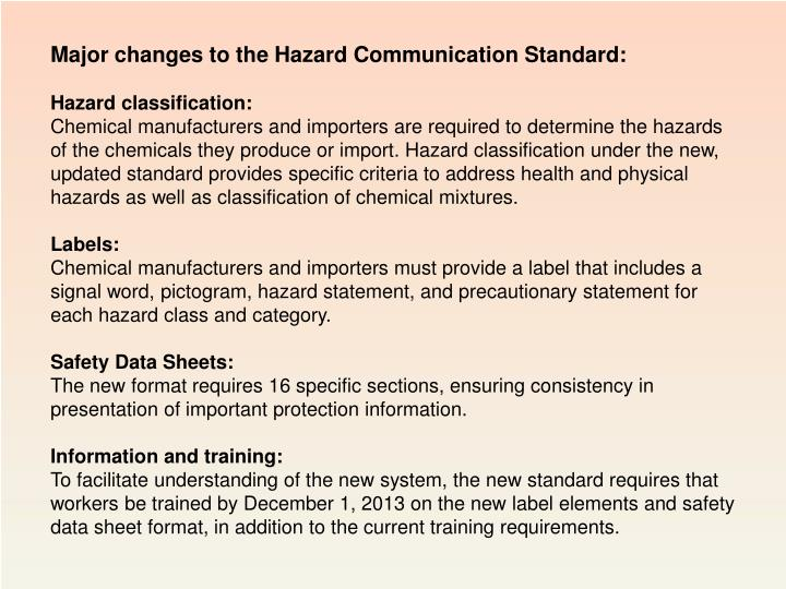 Major changes to the Hazard Communication Standard: