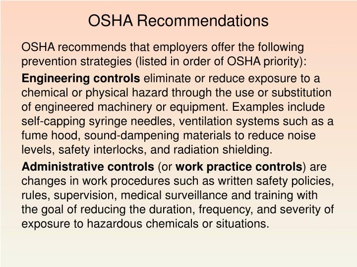 OSHA Recommendations