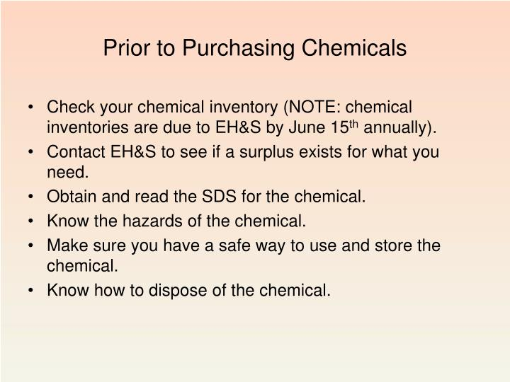 Prior to Purchasing Chemicals