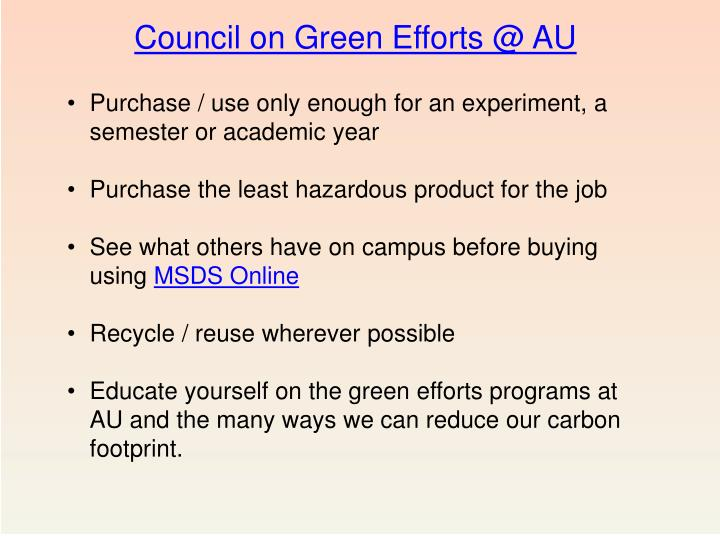 Council on Green Efforts @ AU