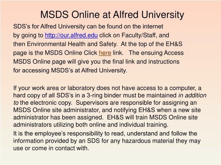 MSDS Online at Alfred University