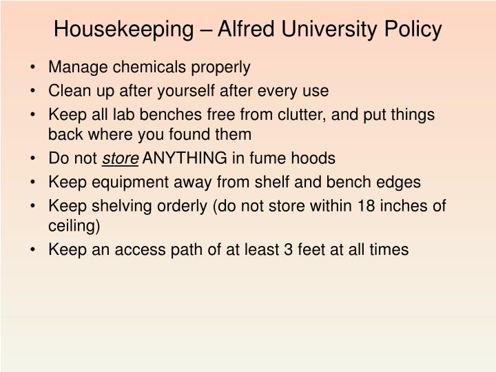 Housekeeping – Alfred University Policy