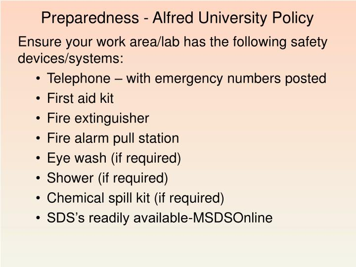 Preparedness - Alfred University Policy