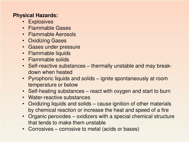 Physical Hazards: