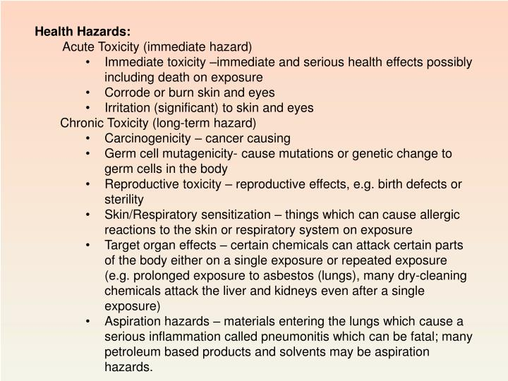 Health Hazards: