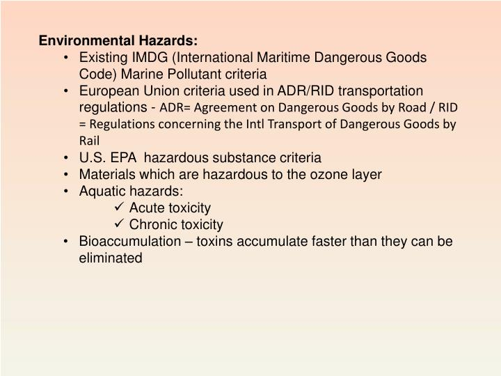 Environmental Hazards: