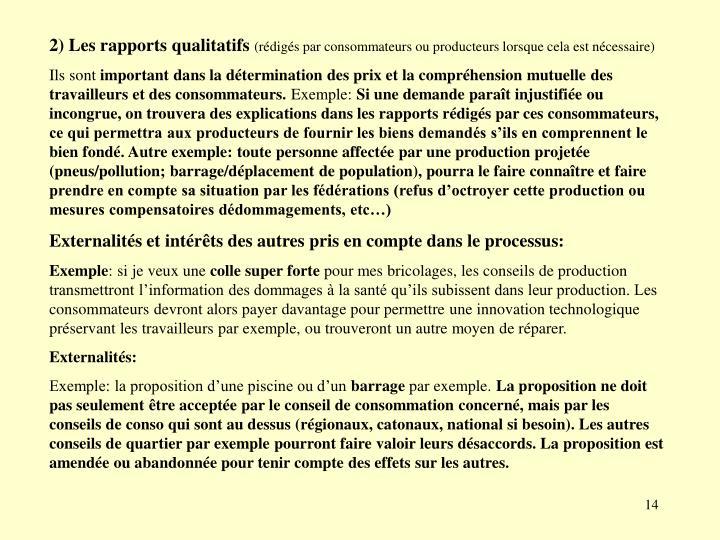 2) Les rapports qualitatifs