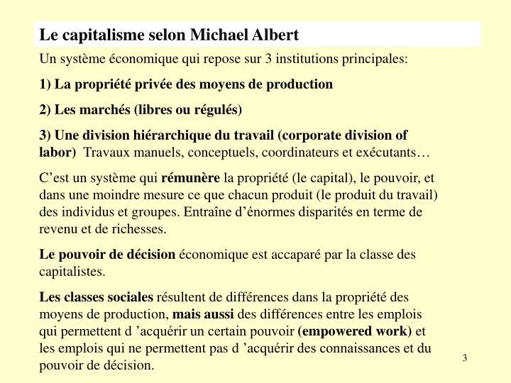 Le capitalisme selon Michael Albert