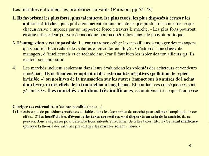 Les marchés entraînent les problèmes suivants (Parecon, pp 55-78)