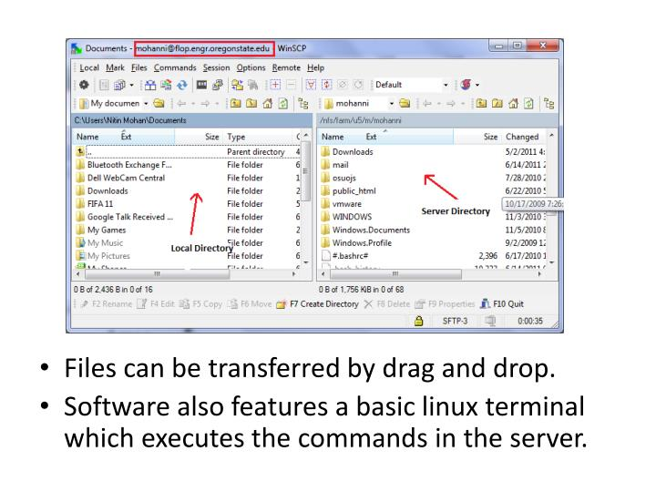 Files can be transferred by drag and drop.