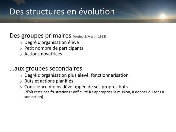 Des structures en évolution