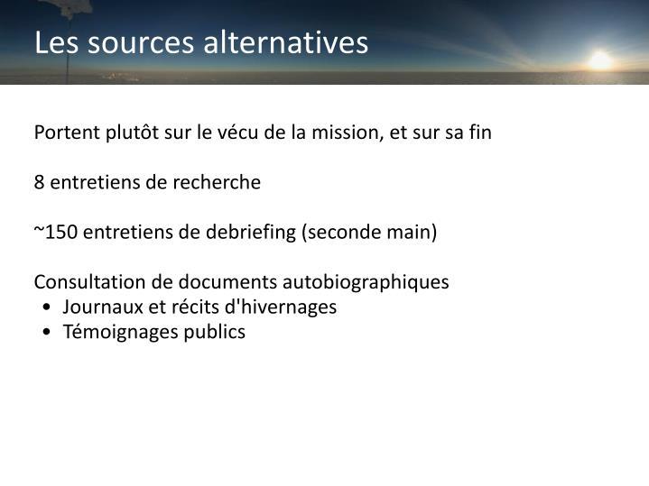 Les sources alternatives