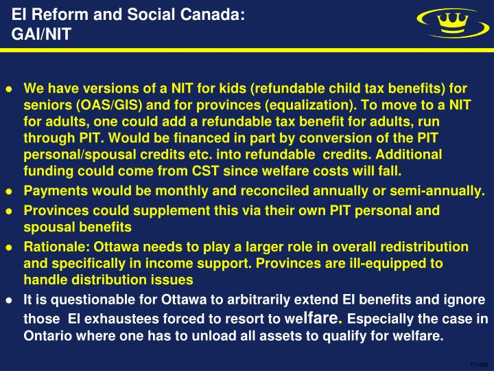 EI Reform and Social Canada: