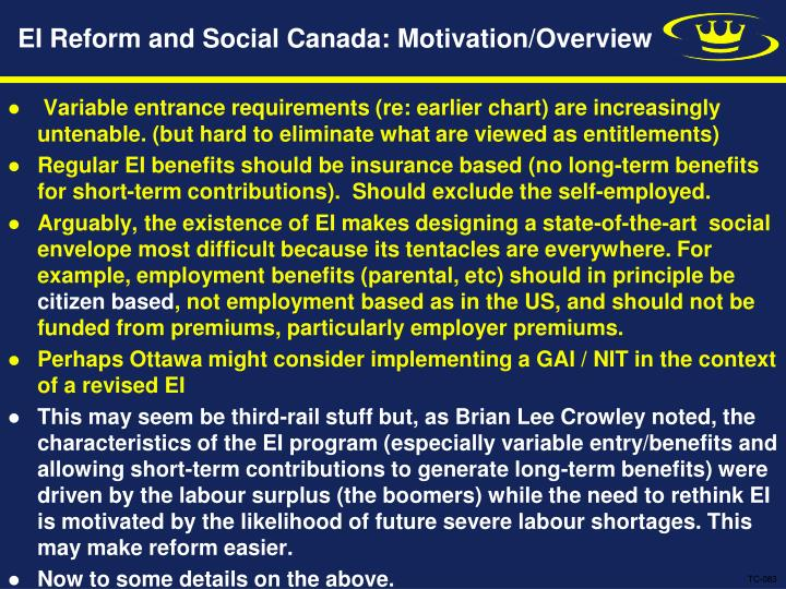 EI Reform and Social Canada: Motivation/Overview