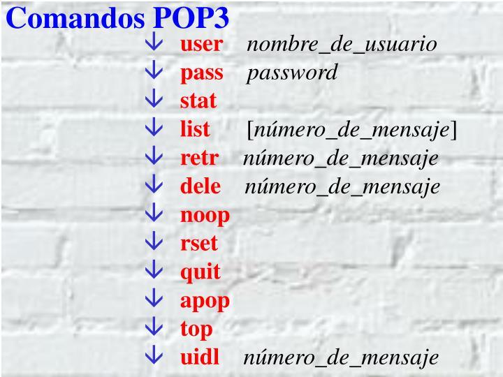 Comandos POP3