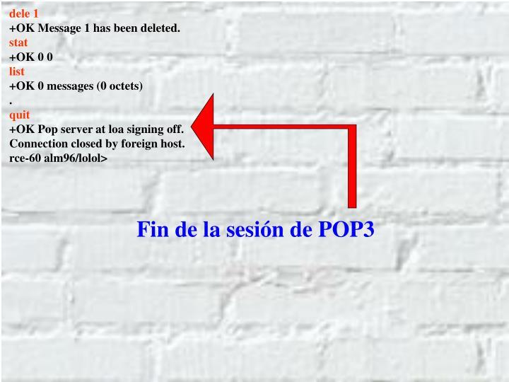 Fin de la sesión de POP3