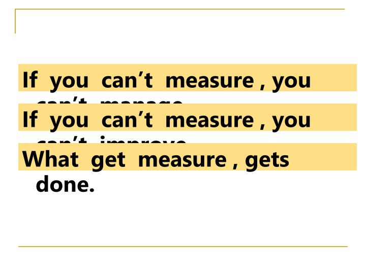 If  you  can't  measure , you  can't  manage.