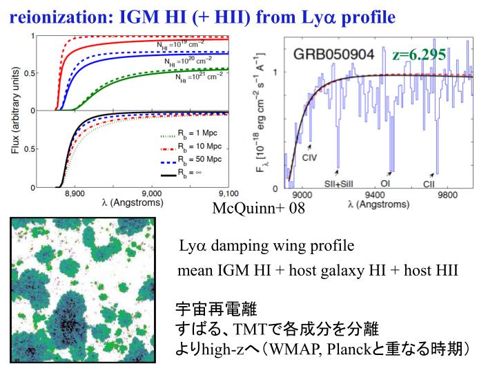 reionization: IGM HI (+ HII) from Ly