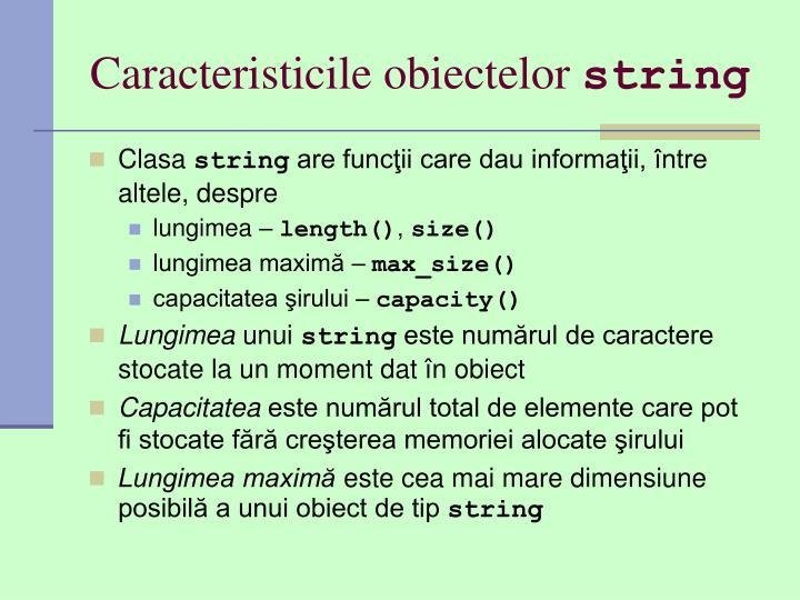 Caracteristicile obiectelor