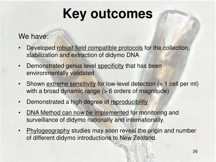 Key outcomes