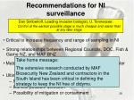recommendations for ni surveillance