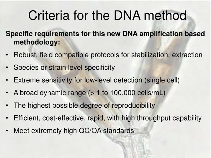 Criteria for the DNA method