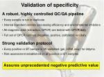 validation of specificity