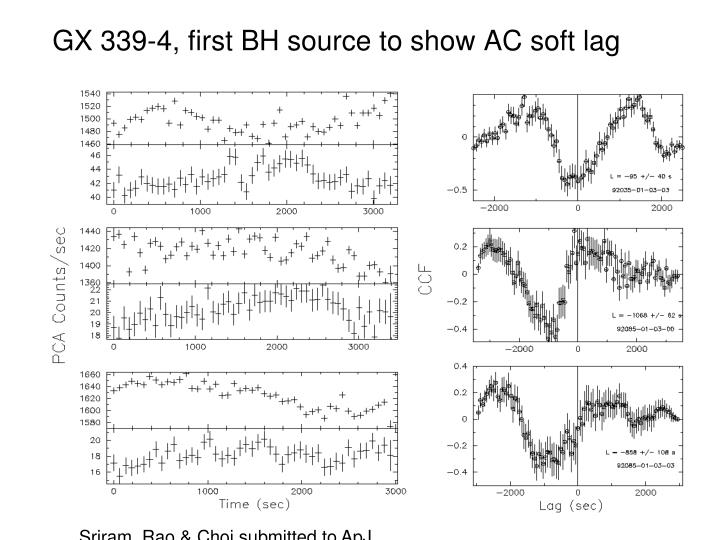 GX 339-4, first BH source to show AC soft lag