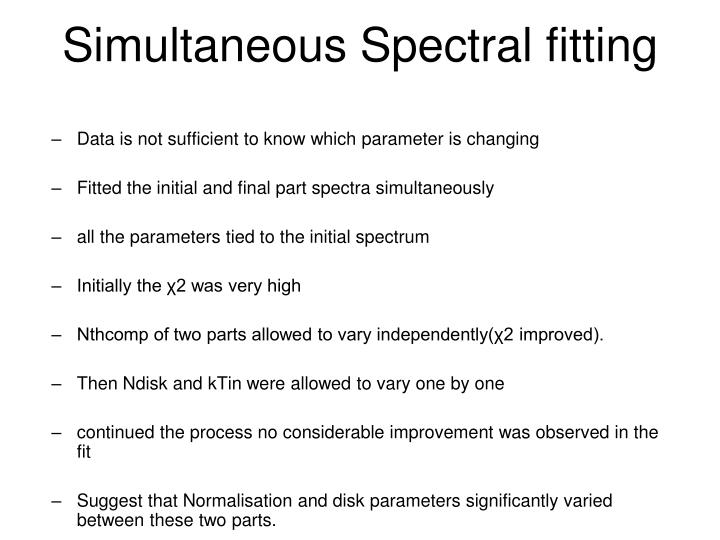 Simultaneous Spectral fitting