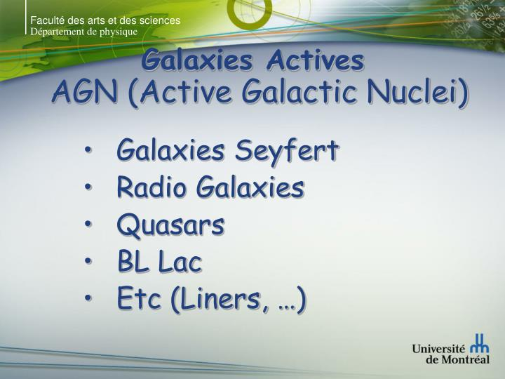 Galaxies actives agn active galactic nuclei