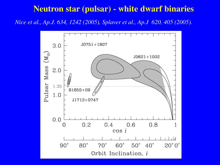 Neutron star (pulsar) - white dwarf binaries