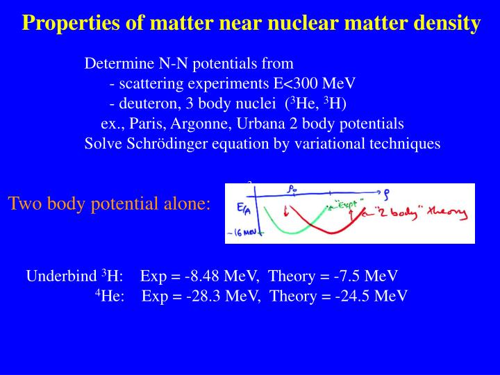 Properties of matter near nuclear matter density