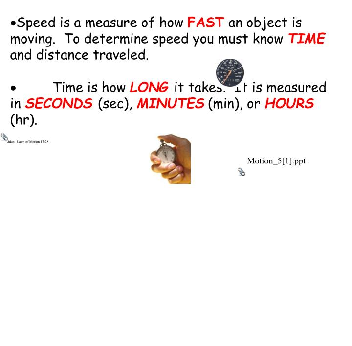 Speed is a measure of how