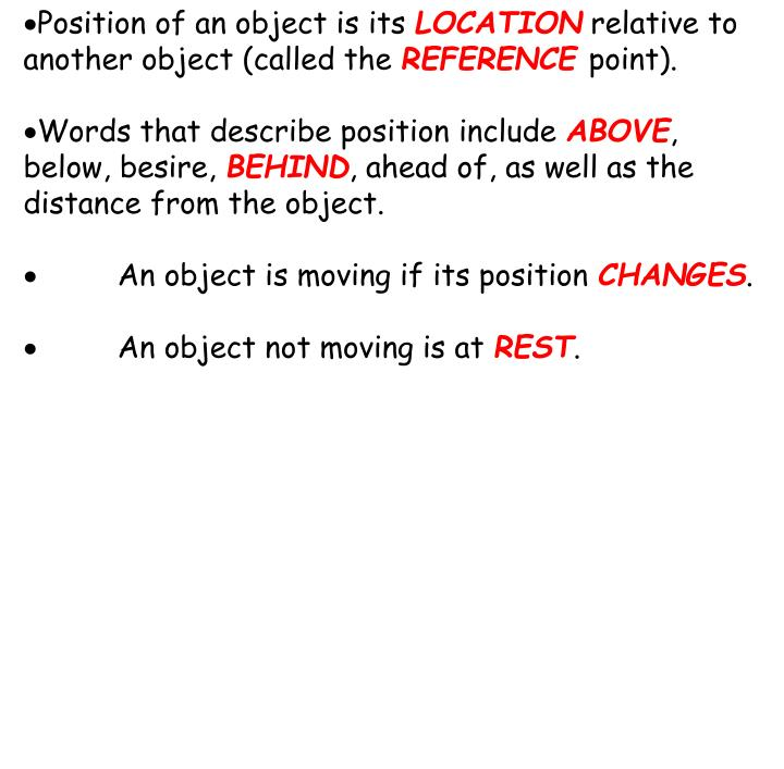 Position of an object is its