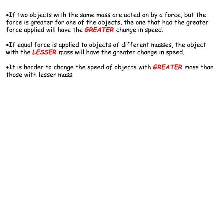 If two objects with the same mass are acted on by a force, but the force is greater for one of the objects, the one that had the greater force applied will have the