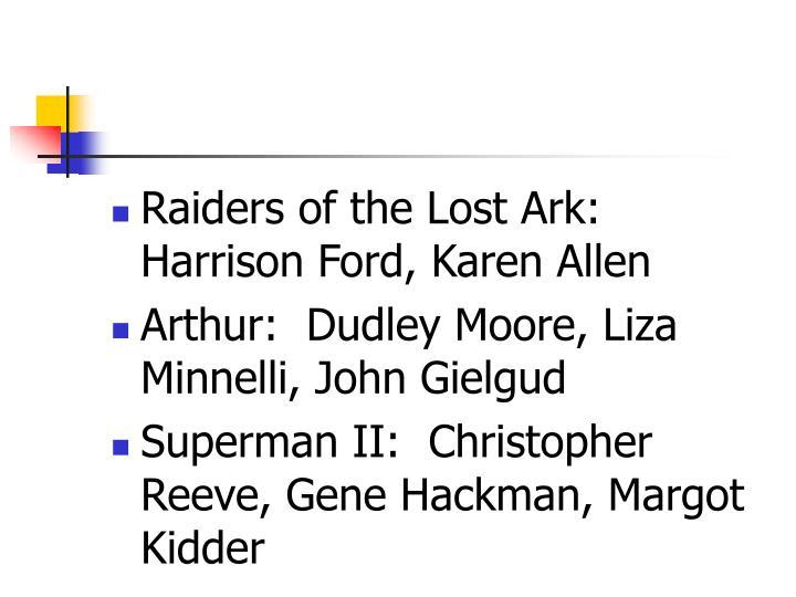 Raiders of the Lost Ark:  Harrison Ford, Karen Allen