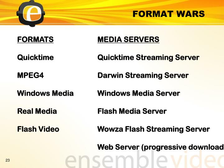 FORMAT WARS