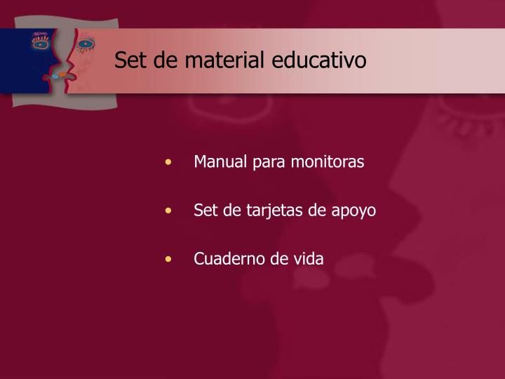 Set de material educativo