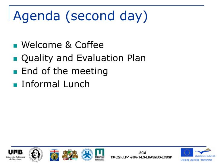 Agenda (second day)