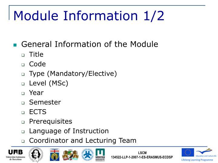 Module Information 1/2
