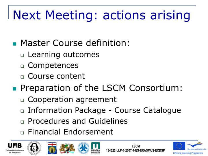 Next Meeting: actions arising
