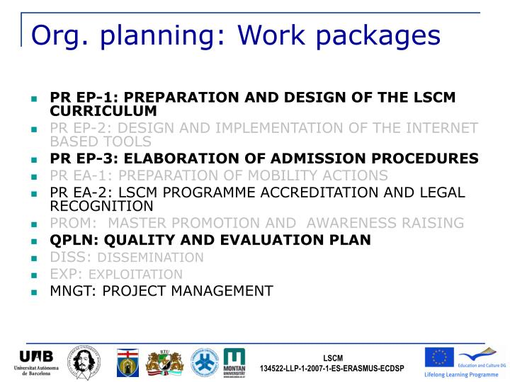 Org. planning: Work packages
