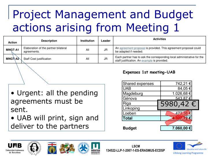 Project Management and Budget actions arising from Meeting 1