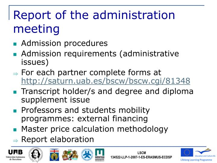 Report of the administration meeting